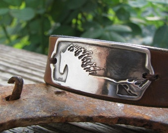 Horse Jewelry, Leather Cuff Bracelet with Fine Silver Horse Link, Artisan Handmade by SilverWishes