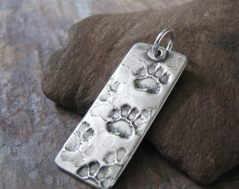 Artisan PMC Personalized Jewelry, Handmade Pawprint Pendant, Fine Silver, Sterling Finding, by SilverWishes