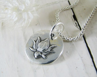 Lotus Pendant In Fine Silver, PMC Artisan Jewelry, Handmade, Exclusive Design