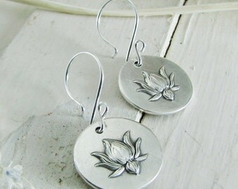 PMC Artisan Handmade Jewelry, Fine Silver Lotus Earrings with Sterling Earwires