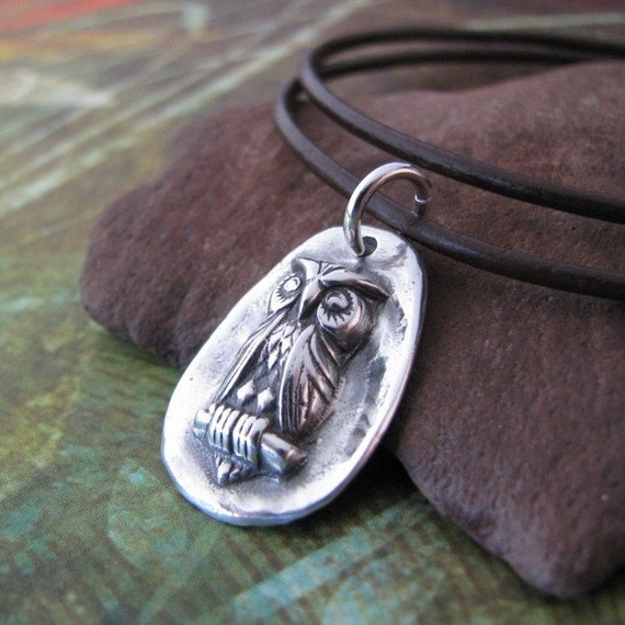 Fine Silver Owl Pendant, PMC Handmade Metal Clay Jewelry, Nature's Guardian