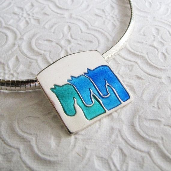 Three Amigos, Silver Horse Jewelry, Artisan Handmade Enameled Horse Pendant in PMC Fine Silver