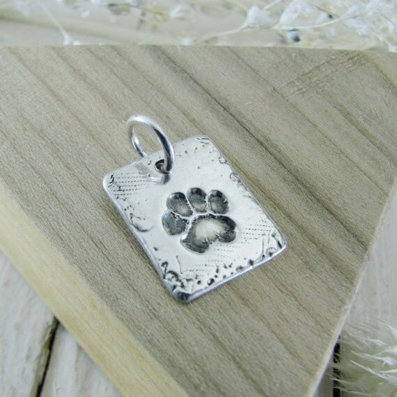 Personalized Fine Silver Pawprint Jewelry, Artisan Handmade Fine Silver Pendant with Engraving