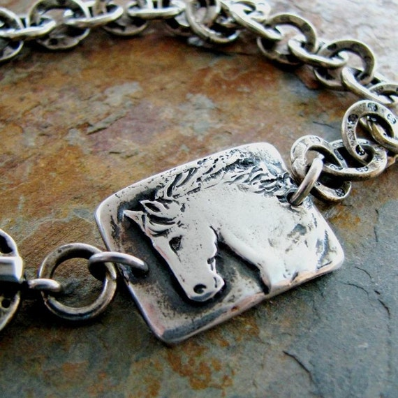Artisan Silver Horse Bracelet, Personalized Rustic Sculpted Link with Chunky Textured Silver Chain