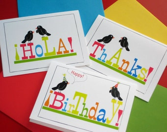 Birthday, hello & thank you Blank Note cards, bird cards