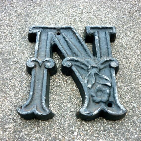 vintage cast iron letter n