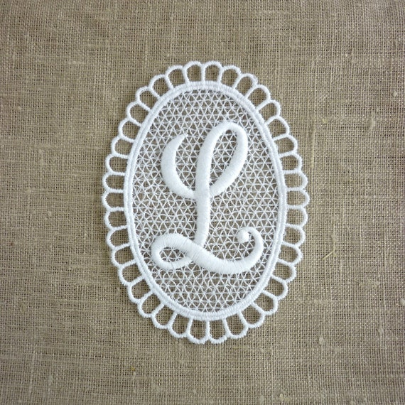 Vintage embroidered letter l by lisbonstory on etsy for Embroidery prices per letter