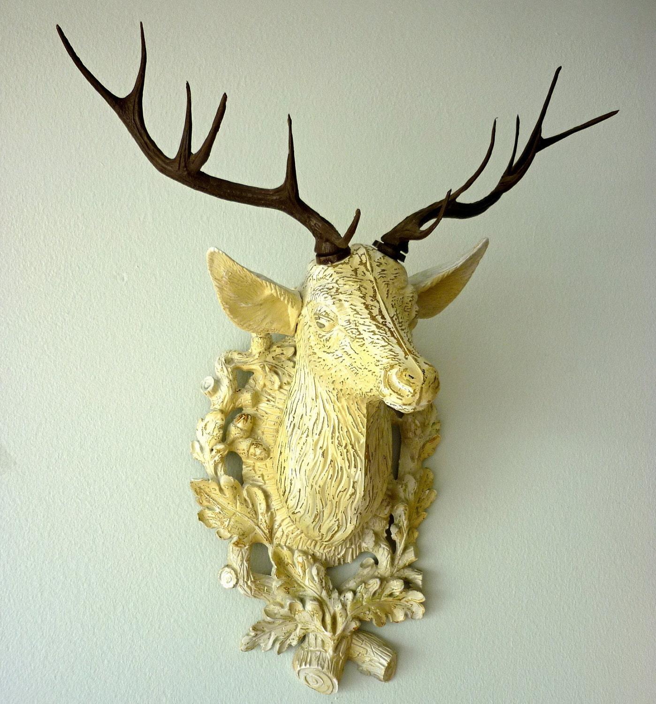 Vintage Faux Deer Head Painted