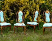 RESERVED for Lauren Teal & Timber Dining Chair Set