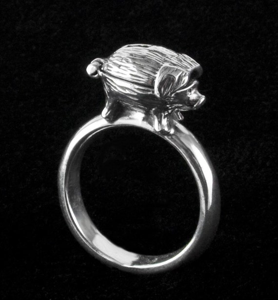 Piggy Bank Sterling Silver Ring