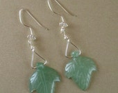 OOAK Green Aventurine Earrings with Silver wire - Carved Leaves