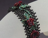 OOAK Bracelet   Beadwork Black with Red Roses   6 Plus Inches