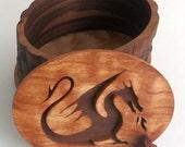 Decorative Dragon Cameo Box - walnut