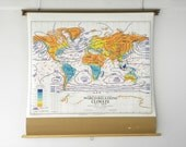 Vintage World Climate Map, Vintage Philips / Denoyer Geppert Classroom Pull Down Map, Graphic & Colorful