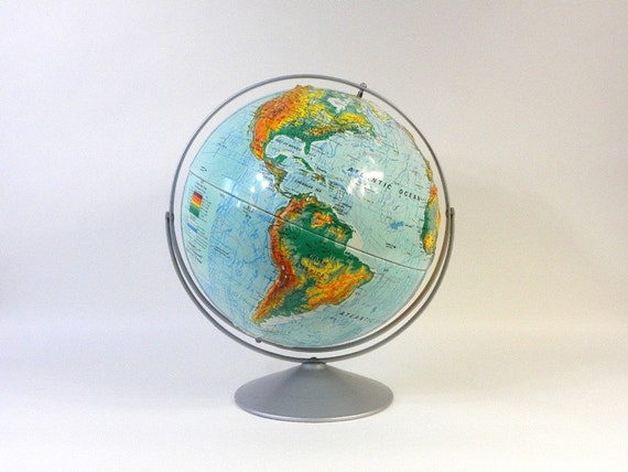 Large World Globe with Vivid Colors, 16 in. Diameter Nystrom Sculptural Raised Relief Globe