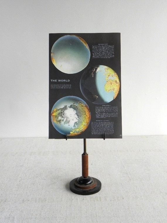 Planet Earth, Large Vintage Book Page, The World, 10.5 x 15 in., Wonderful Illustrations & Color