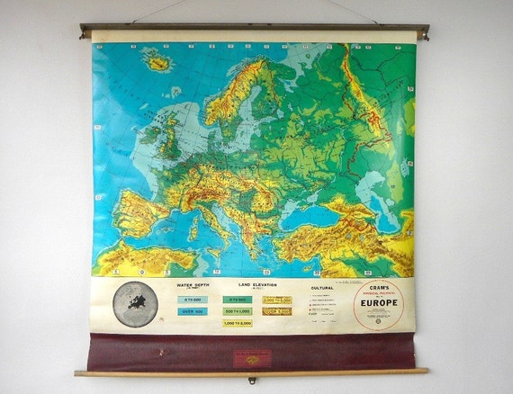 Vintage Cram's Pull Down Map of Europe, Colorful Classroom Map, 1960's