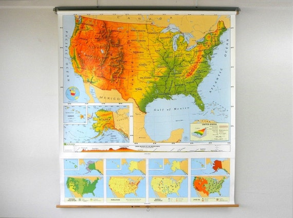 Vibrant United States Classroom Pull Down Map, Nystrom, Multicolored, Plasticized - FREE Shipping