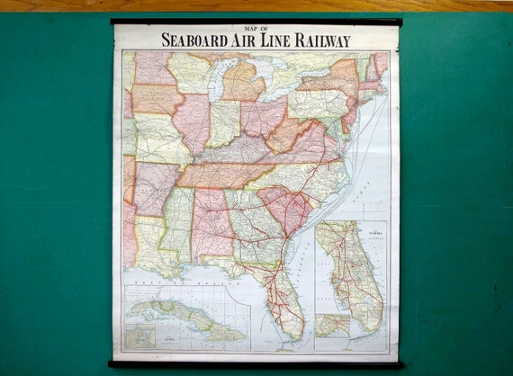 Vintage Wall Map of Seaboard Air Line Railway, Scroll Style, United States, East Coast, Railroads, Travel, 1930's-40's