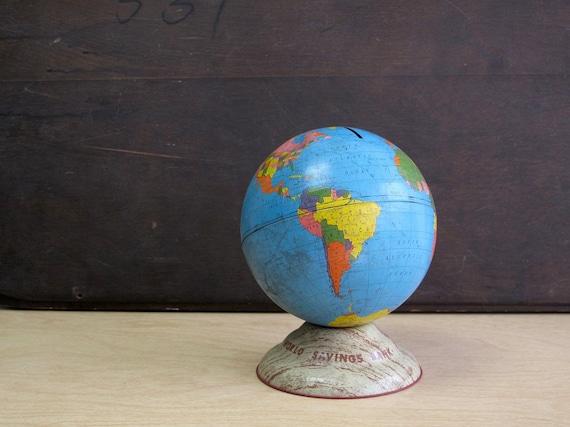 Vintage Tin World Globe Bank, 6 Inch World Savings Bank Toy Globe, Fun, Kitschy, Cool