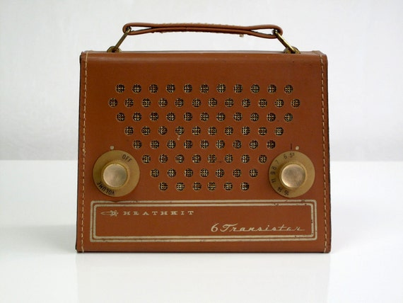 Vintage Heathkit 6 Transistor Radio, 1960's, Cool Styling, Leather case, Selling as a Prop