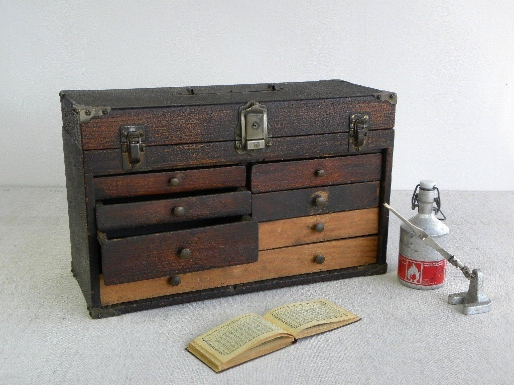 Wood Tool Chest ~ Antique wooden tool chest machinist box beautifully