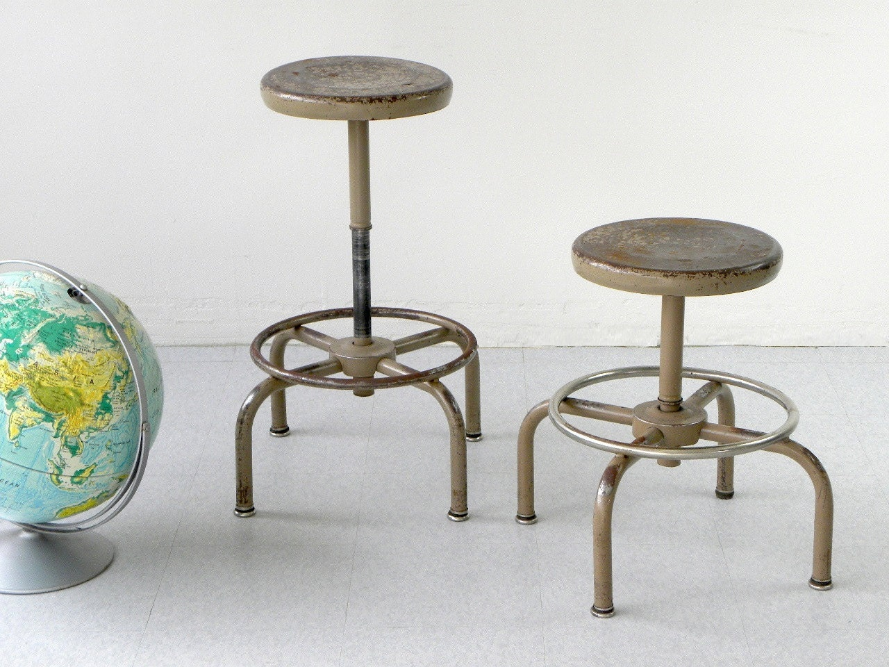 vintage industrial metal shop stool by adjusto by cathodeblue