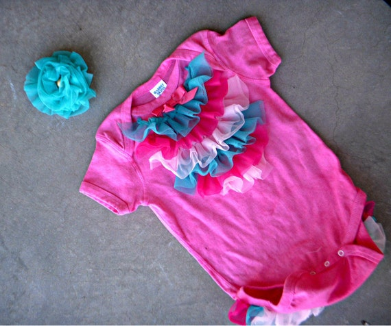 Pink Ruffle Onesie ruffle bum onesie with matching Headband/clip READY TO SHIP size 24mo