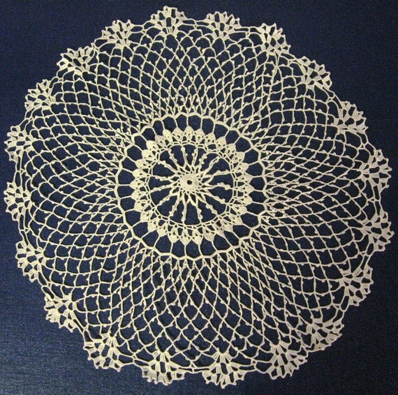 Hand Crocheted Off White Doily