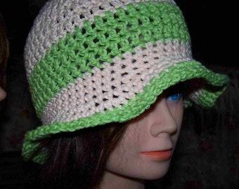 Sun Hat Cotton Hand Crochet  Beach Peach Green w Flower Cloche Flared Floppy Brim Soft Flapper Hat w Purple Summer Chemo  Ready to Ship!!