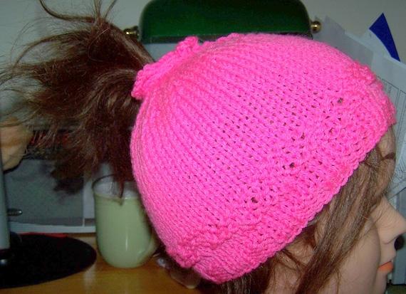 Ponytail Hat Beanie Hot Pink Hand Knit Skullcap New Bright New acrylic ...