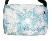 Handmade Sky Blue and White Lambskin Leather Purse