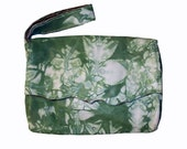 Handmade Green and White Embroidered Leather Wristlet Bag