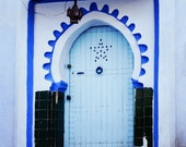 Blue Door Photography - Morocco Cultural Photography - Moroccan Town Photograph - 5x7 Photograph
