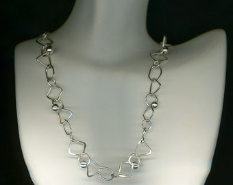 Necklace Sterling Silver Links Circles Squares Triangles Ovals Metal Wire Jewelry