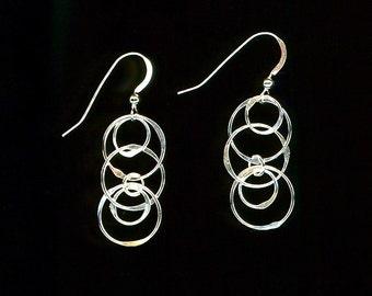 Circle Chain Link Earrings Hoop Sterling Silver Earrings Wire Jewelry