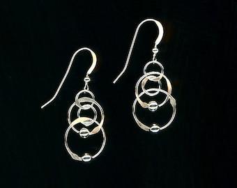 Circle Open Hoop Chain Earrings Silver Beaded Wire Jewelry