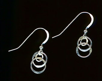 Circle Wire Earrings, Small Dangle Silver Earrings, Hammered Sterling
