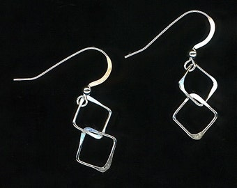 Dangle Silver Chain Square Earrings Sterling Link Squares Metalwork