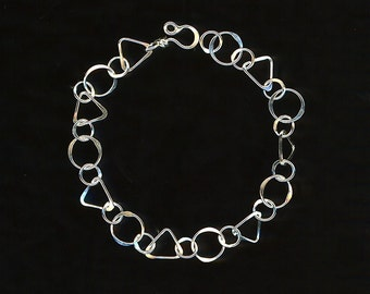 Open Circle Triangle Bracelet Silver Chain Sterling Link Circles Wire Jewelry Hammered Metalwork
