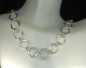 Heavy Silver Necklace Sterling Silver Chain Large Thick Circles Lightly Hammered