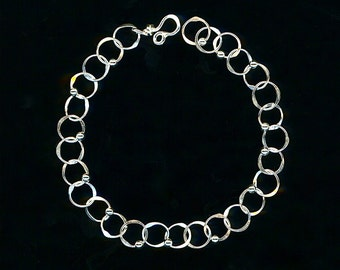 Chain Silver Circle Links Beaded Sterling Wire Bracelet Hammered Metalwork Handmade Wire Jewelry Hoop Bracelet