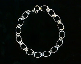 Chain Bracelet Silver Ovals Sterling Ovals Wirework Jewelry Link Hammered Wire