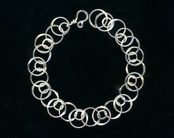 Chain Link Bracelet Chain Sterling Silver Link Circle Circle Chainmaille Wire Jewelry Silver Anniversary Birthday Gift
