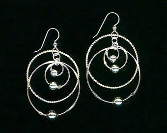 Large Earrings Beaded Twisted Sterling Silver Chain Links Dangle Hoop Metalwork Wirework