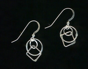 Silver Earrings Chain Link Squares Circles