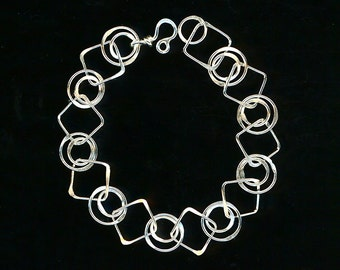 Chain Link Silver Large Square Chain Bracelet Double Circle Sterling Chainmaille Wire Jewelry Metal Wirework