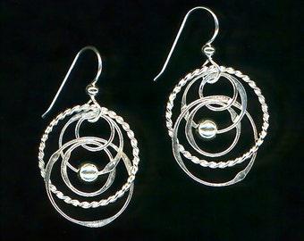 Sterling Silver Dangle Earrings, Twisted Silver Dangles, Beaded Earrings, Beaded Dangle Earrings, Twisted Chainmaille Earrings, Silver Chain
