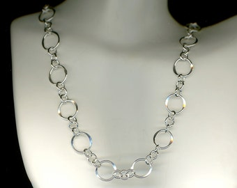 Circle Chain Sterling Silver Necklace Hammered Link Circles Wire Jewelry 26 Inches