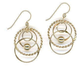 Gold Earrings Wire Circles Beaded Chain Link Earrings Twisted Wire Hoops Handcrafted Hammered Dangles
